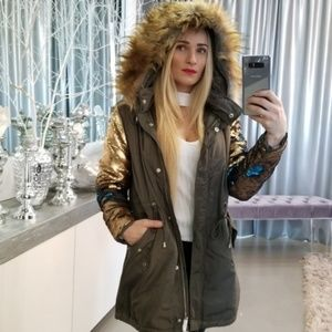 PARKA COAT WITH SEQUIN SLEEVES